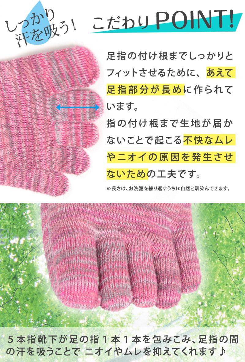 5本指ソックス レディース クルー丈 22-24cm (靴下 カラフル 女性 日本製 抗菌防臭 吸汗 丈夫)