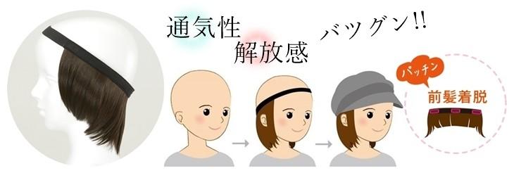 帽子とセットで使う医療用インナーウィッグ
