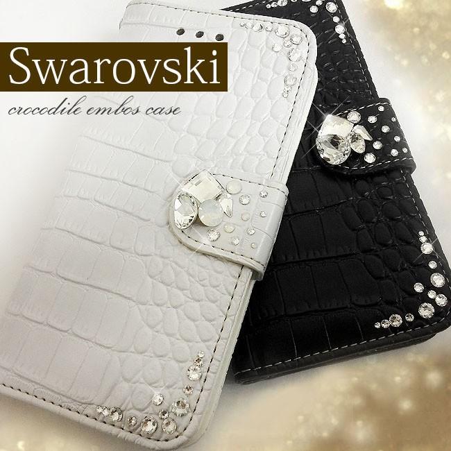 SWAROVSKI クロコ型押しレザー 二つ折り iphone5/5sケース