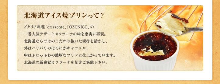北海道アイス焼プリンって? イタリア料理「ORIZONTE」「OZONICO」の一番人気デザートカタラーナの味を忠実に再現。北海道ならではのこだわり抜いた素材を活かし、外はパリパリのほろにがキャラメル、中はふわっふわの濃厚なプリンに仕上がっています。北海道の新感覚カタラーナを是非ご堪能下さい。