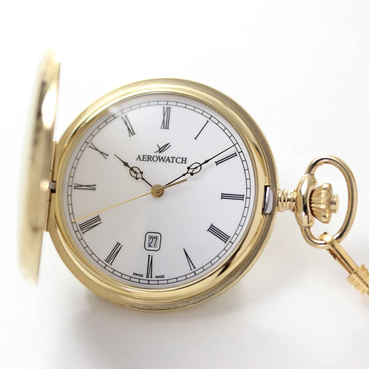 普段使いにぴったりなシンプルで使いやすいデザイン。クォーツ式アエロ懐中時計 42796ja01