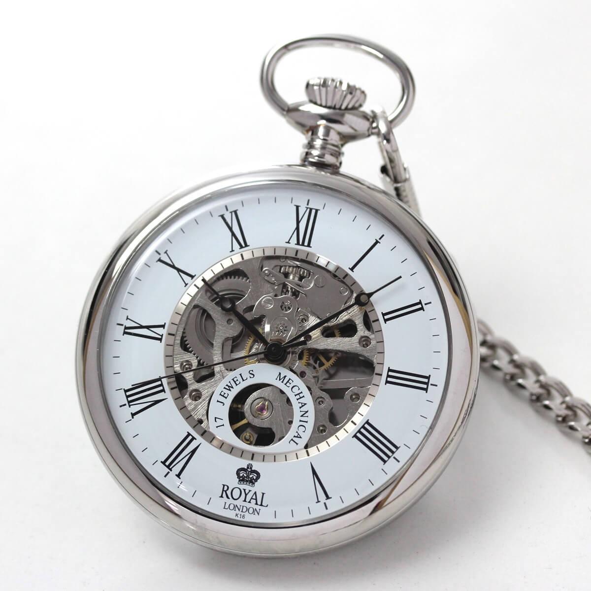 ROYAL LONDON(ロイヤルロンドン) 手巻きスケルトン懐中時計 90049-01