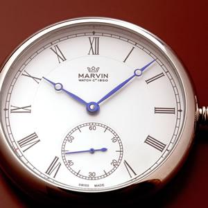 正美堂 マーヴィン オリジナル懐中時計 ブルースチールの針