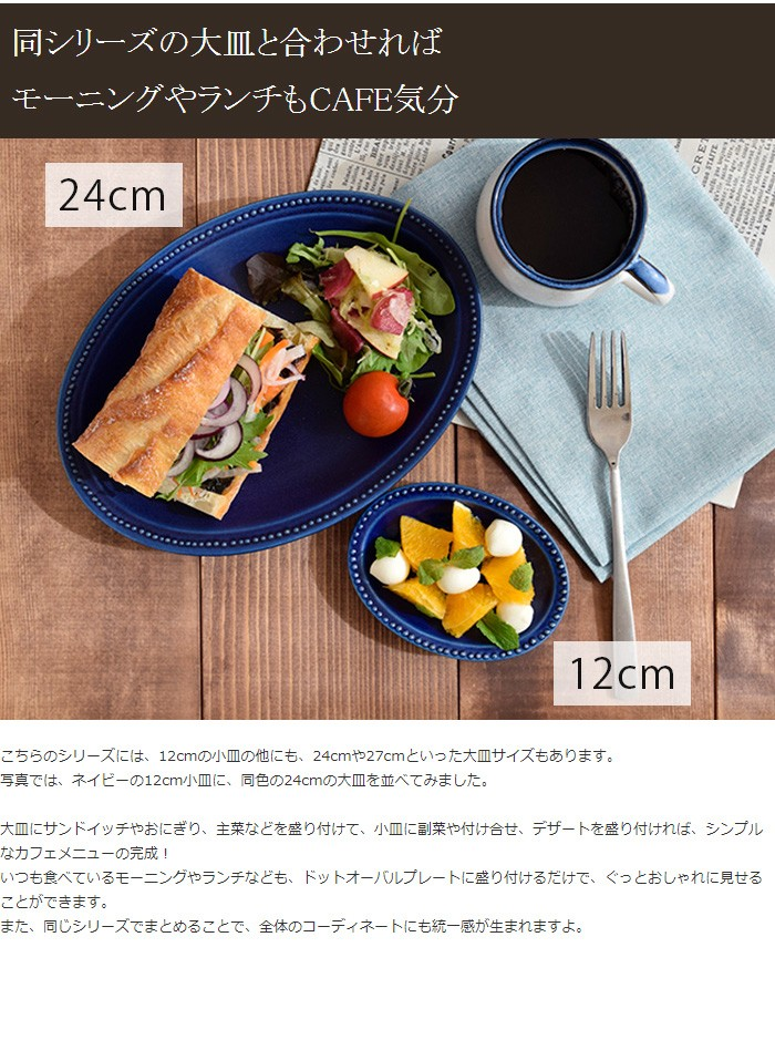 小皿 ドットオーバルプレート12cm