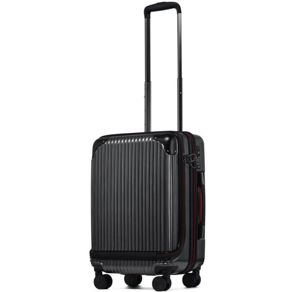 スーツケース 機内持ち込み Sサイズ フロントオープン ファスナー ビジネス キャリーバッグ キャリーケース フロントポケット tabi 22