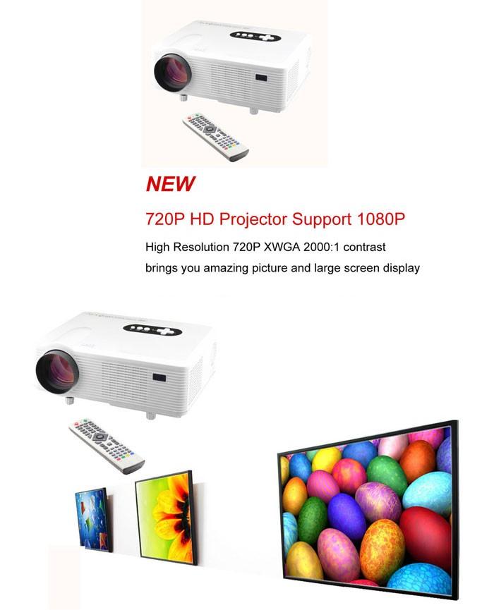 Original Excelvan Cl720 Led Projector 3000 Lumens 1280 X: (プロジェクター)CL720 LED Ã�ロジェクター 3000ルーメン高輝度 Projector Ã�ワイト
