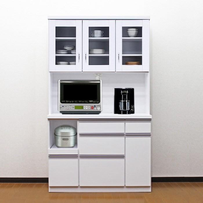 食器棚 レンジ台 完成品 鏡面