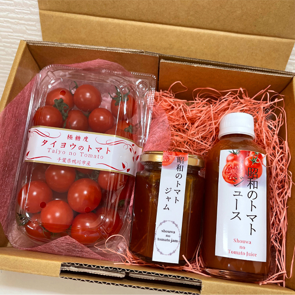 【川の手荒川まつりセット】タイヨウのトマトべにすずめ+昭和のトマトジャム・トマトジュースセット梱包