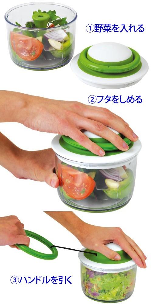 野菜を入れてハンドルを引くだけ