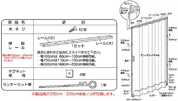 アコーデオンドアNJ-2 100×220cm L8632・L8647・L8677 パレット・フォーリ・ウィスト
