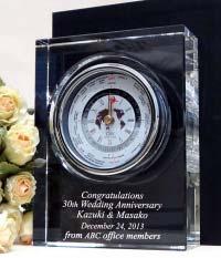 記念品お祝に名入れクリスタル彫刻時計