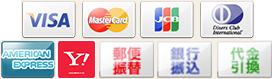 クレジットカード(VISA、Master、JCB、Diners、Amex)、銀行振込、代金引換、楽天バンク決済