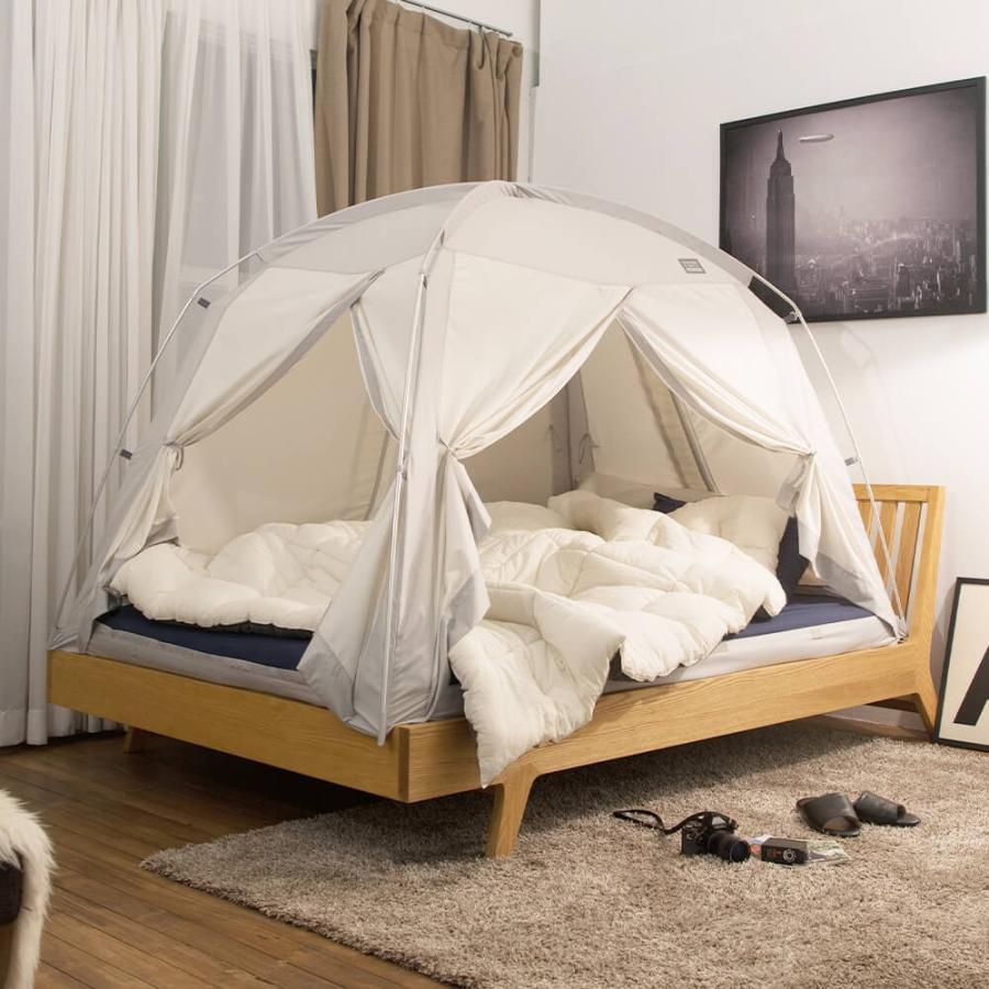 タスミ 4door 暖房テント Sサイズ 室内テント コットン質感 洗える コンパクト収納 ハウスダスト対策 花粉対策 感染症予防対策 IDOOGEN 正規輸入品 天蓋 tentya 09