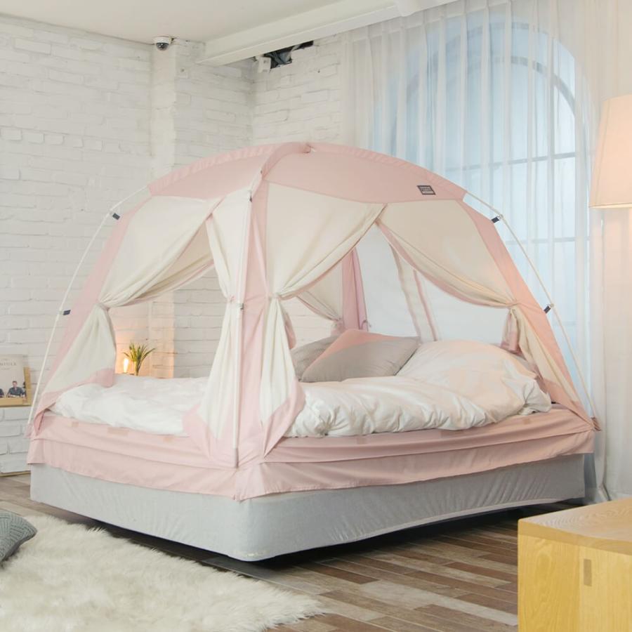 タスミ 4door 暖房テント Sサイズ 室内テント コットン質感 洗える コンパクト収納 ハウスダスト対策 花粉対策 感染症予防対策 IDOOGEN 正規輸入品 天蓋 tentya 10