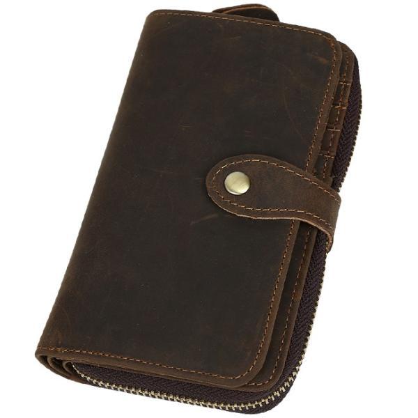 9a302c5d508e ... TIDING 二つ折り財布 メンズ 本革 厚手牛革 プルアップレザー 経年変化 ラウンドZIP