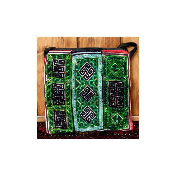 ショルダーバッグ モン族 バック 刺繍 (一点物)モン族刺繍のスクエアショルダーバッグ インド かばん ポーチ エスニック アジア tirakita-shop 30