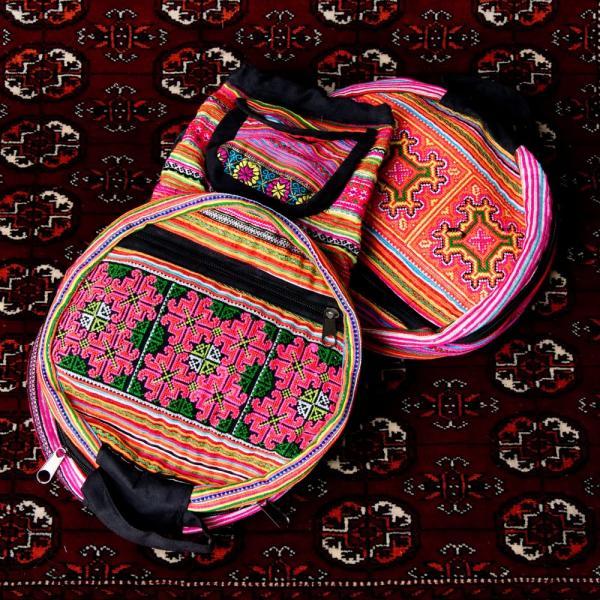 モン族刺繍 まんまる折りたたみ式2Wayトラベルバッグ / ショルダーバッグ レビューでタイカレープレゼント|tirakita-shop|25