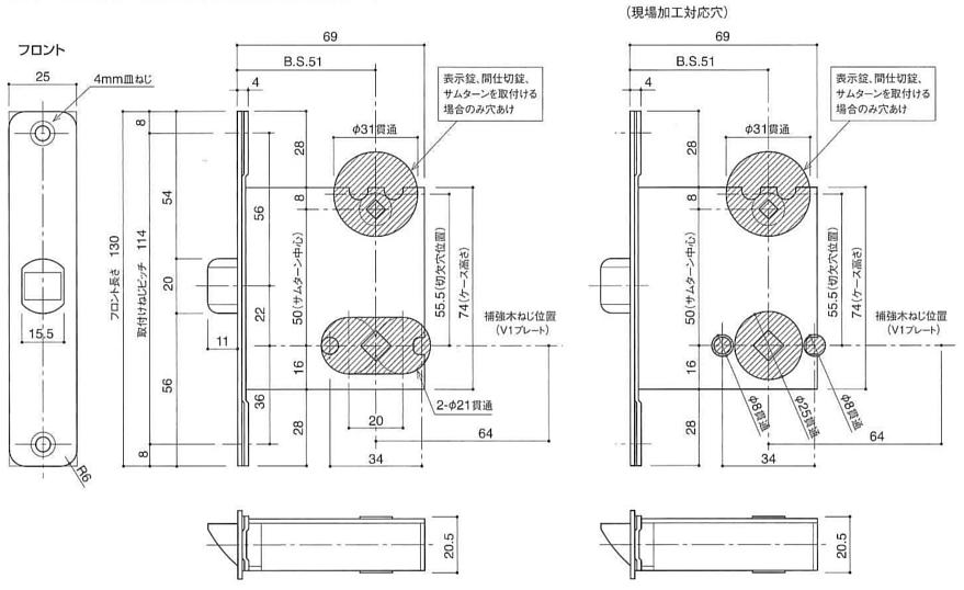 カワジュン製レバーハンドル T3 角座 表示錠 パールブラック :3 ...