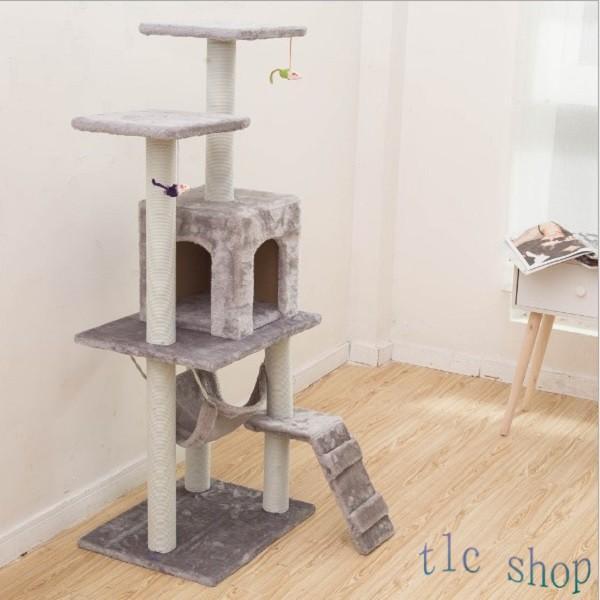 キャットタワー  据え置き型 猫タワー ハウス おもちゃ 麻紐 爪とぎ付き 室内飼い 省スペース 猫のストレス解消 運動不足 おしゃれ 中型|tlcshop|14