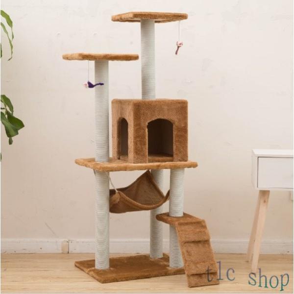 キャットタワー  据え置き型 猫タワー ハウス おもちゃ 麻紐 爪とぎ付き 室内飼い 省スペース 猫のストレス解消 運動不足 おしゃれ 中型|tlcshop|16