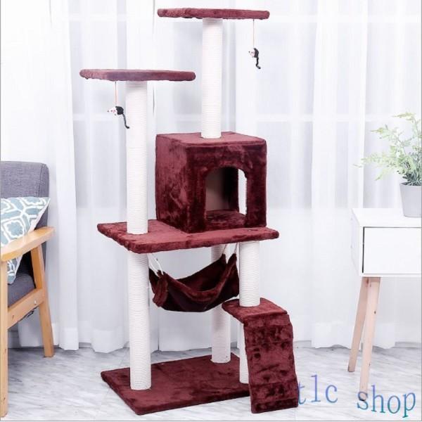 キャットタワー  据え置き型 猫タワー ハウス おもちゃ 麻紐 爪とぎ付き 室内飼い 省スペース 猫のストレス解消 運動不足 おしゃれ 中型|tlcshop|19