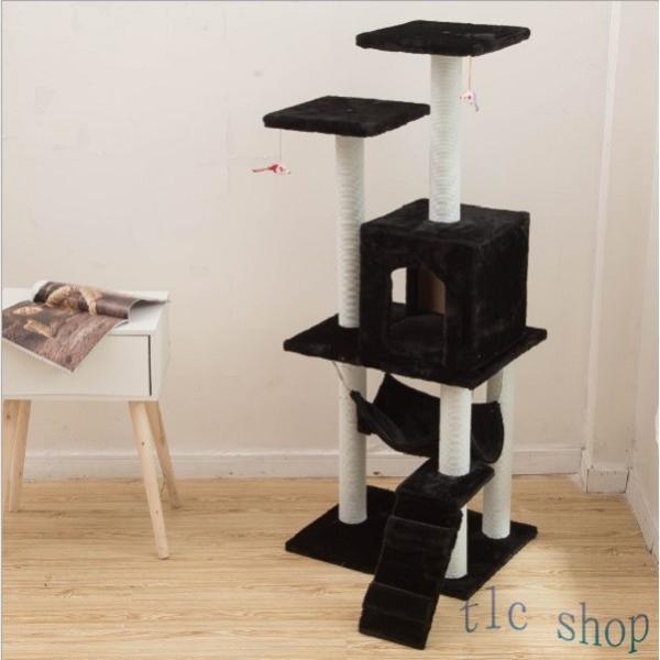 キャットタワー  据え置き型 猫タワー ハウス おもちゃ 麻紐 爪とぎ付き 室内飼い 省スペース 猫のストレス解消 運動不足 おしゃれ 中型|tlcshop|18