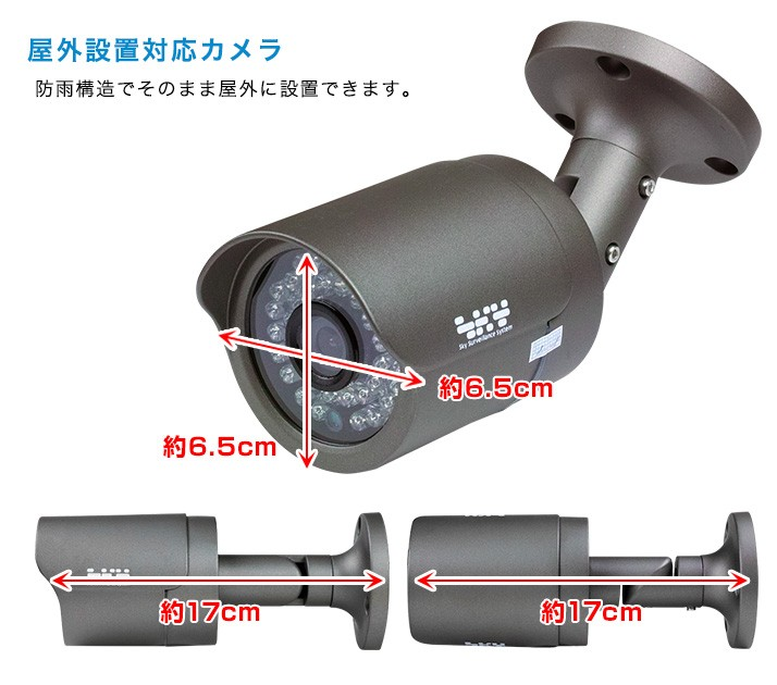 防犯カメラのサイズは奥行約17cm、幅約6.5cm