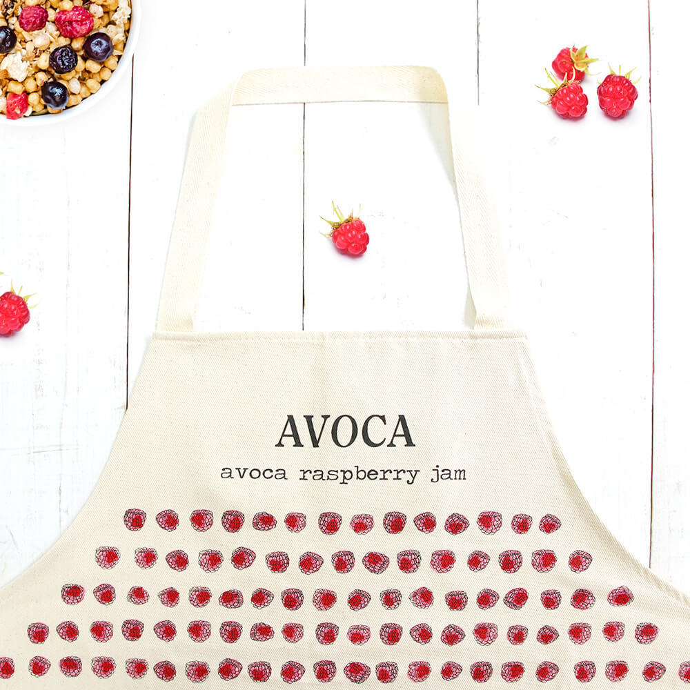 Raspberry Jam apron アヴォカ フルーツ柄 エプロン 保育士 母 料理好き レシピ