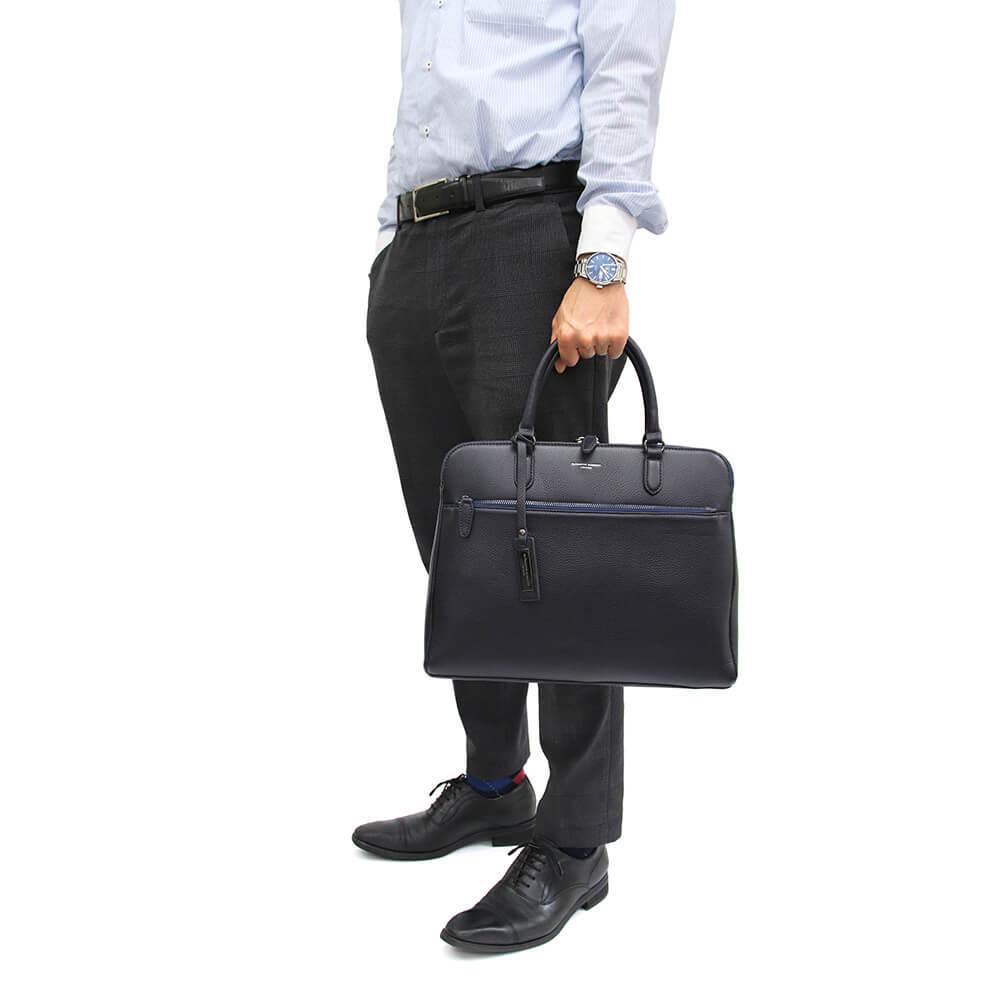 キャサリンハムネット トートバッグ ビジネスバッグ スーツ ネイビー 紺 ビジネストート 本革 レザーバッグ 英国 上品コーデ 父の日