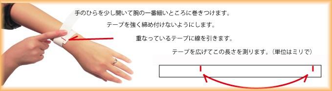 腕回りのサイズの測り方