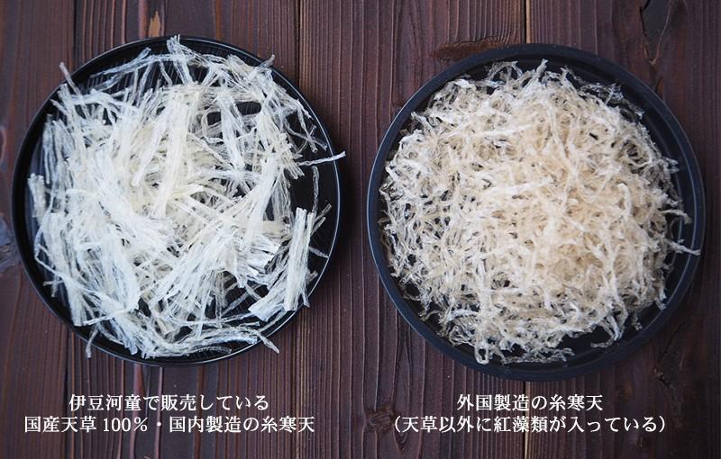 糸寒天の比較 国内製造品と外国製造品