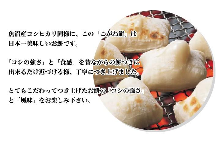 魚沼産コシヒカリ同様に、この「こがね餅」は日本一美味しいお餅です。「コシの強さ」と「食感」を昔ながらの餅つきに出来るだけ近づける様、丁寧につき上げました。とてもこだわってつき上げたお餅の「コシの強さ」と「風味」をお楽しみ下さい。