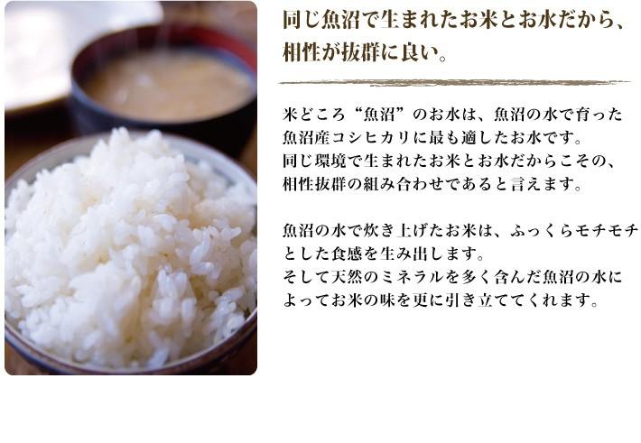 """同じ魚沼で生まれたお米とお水だから、相性が抜群に良い。米どころ""""魚沼""""のお水は、魚沼の水で育った魚沼産コシヒカリに最も適したお水です。同じ環境で生まれたお米とお水だからこその、相性抜群の組み合わせであると言えます。魚沼の水で炊き上げたお米は、ふっくらモチモチとした食感を生み出します。そして天然のミネラルを多く含んだ魚沼の水によってお米の味を更に引き立ててくれます。"""