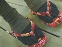 女性用布わらじ レトロ紅赤 和柄