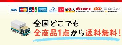 各種クレジットカードOK。トナカイマーケットは、お買い上げ1点から日本全国どちらでも送料無料