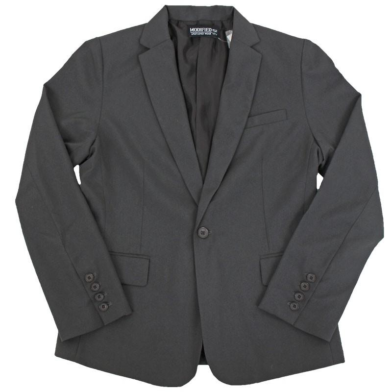 メンズテーラードジャケット ノッチドラペル スーツ生地 1B 無地 ショート タイトシルエット topism 18