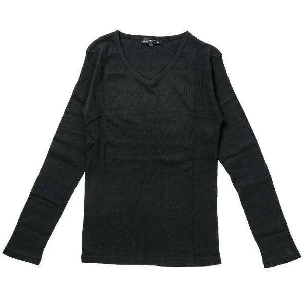 ロンT メンズ Tシャツ 長袖 ロングTシャツ テレコ素材 無地 Vネック カットソー リブ タイト 細身 トップス 伸縮 ストレッチ|topism|15