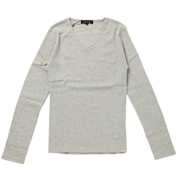 ロンT メンズ Tシャツ 長袖 ロングTシャツ テレコ素材 無地 Vネック カットソー リブ タイト 細身 トップス 伸縮 ストレッチ|topism|16