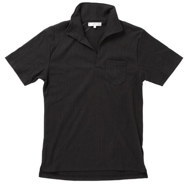 ポロシャツ メンズ テレコ スキッパーポロシャツ イタリアンカラー 襟ワイヤー入り ポケット付 無地 半袖 Tシャツ カットソー タイト ストレッチ 細身|topism|16