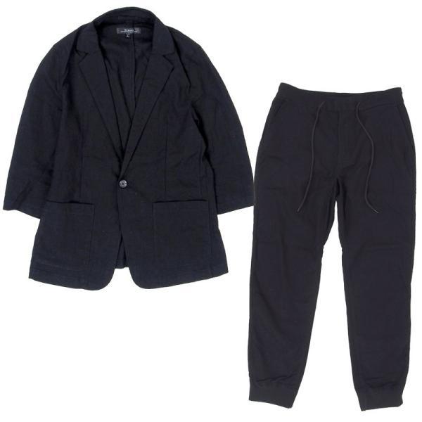 セットアップ メンズ 上下セット カジュアルスーツ テーラードジャケット ジョガーパンツ 7分袖 コットンリネン 綿麻 父の日|topism|20