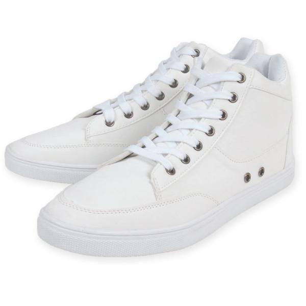 スニーカー メンズ ハイカット ローカット レースアップ ホワイトスニーカー 白スニーカー 黒 ブラック フェイクレザー シューズ 靴|topism|14