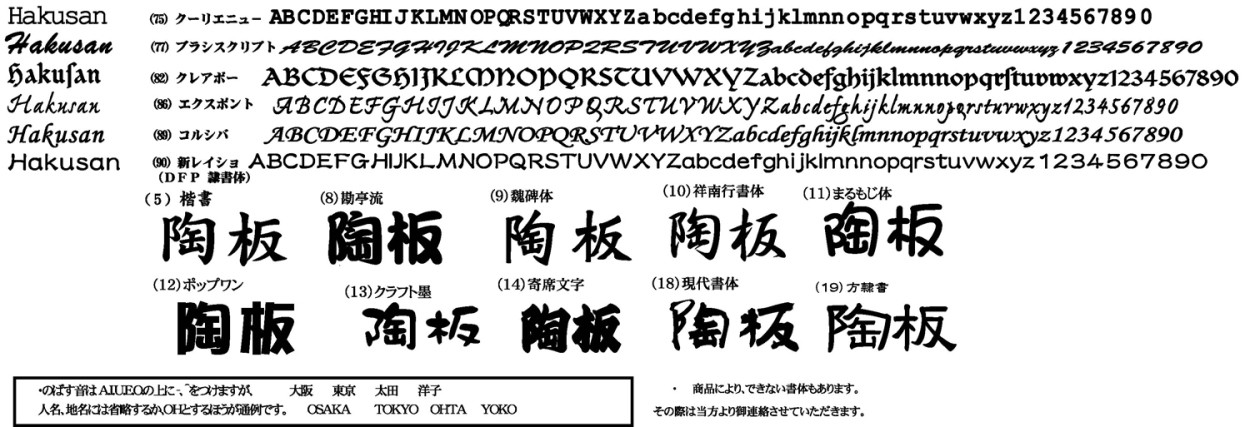 アイアン・ステンレス切り文字表札の書体集3
