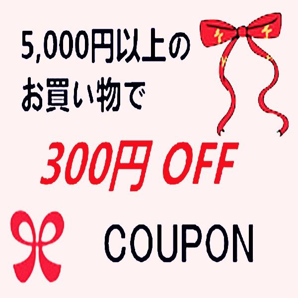 5,000円~のお買物で300円OFF