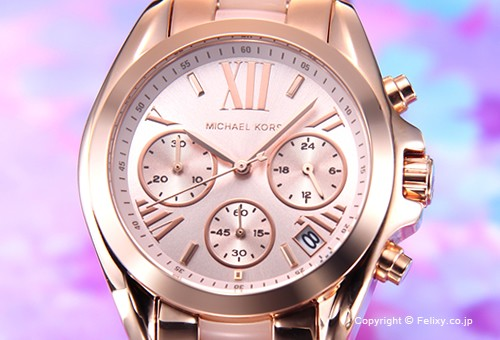 【MICHAEL KORS】マイケルコース 腕時計 Bradshaw Chronograph Mini (ブラッドショー クロノグラフ ミニ) ローズゴールド×ブラッシュ MK6066