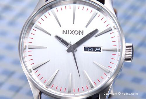 【NIXON】 ニクソン 腕時計 Sentry Leather (セントリー レザー) Silver / Brown (シルバー/ブラウン) A1051113