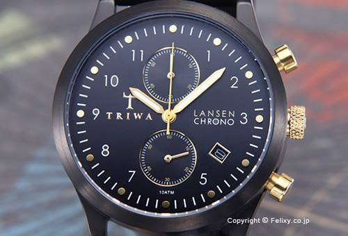 【TRIWA】トリワ 腕時計 Midnight Lansen Chrono (ミッドナイト ランセン クロノ) ブラッククラシックレザー LCST108-CL010113
