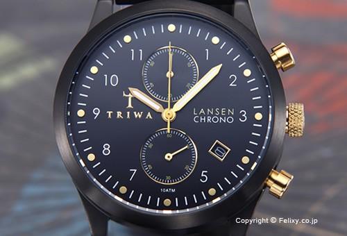 【TRIWA】トリワ 腕時計 Midnight Lansen Chrono (ミッドナイト ランセン クロノ) スティールブレス LCST108-BR020101