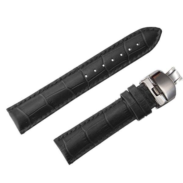 腕時計 ベルト 時計 替えベルト 替えバンド バンド 革ベルト empt Dバックル ブラック ブラウン 黒 茶 18mm 19mm 20mm 21mm 22mm|trendst|22