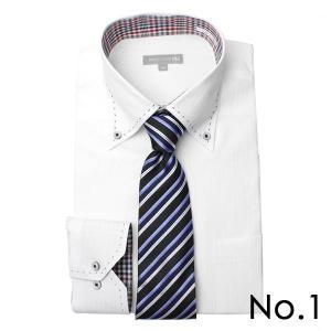 ワイシャツ&ネクタイ2点セット 長袖 ワイシャツ ネクタイ メンズ 紳士用 ボタンダウン カッタウェイ 白 ホワイト ブルー ストライプ バレンタイン[送料無料] tresta 14