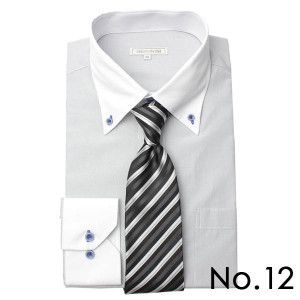 ワイシャツ&ネクタイ2点セット 長袖 ワイシャツ ネクタイ メンズ 紳士用 ボタンダウン カッタウェイ 白 ホワイト ブルー ストライプ バレンタイン[送料無料] tresta 25